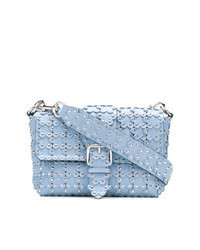 Light Blue Embellished Leather Crossbody Bag