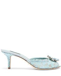 Dolce & Gabbana Keira Crystal Embellished Lace Mules