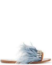 Miu Miu Swarovski Crystal And Feather Embellished Satin And Leather Slides Sky Blue