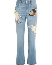 Alexander McQueen Obsession Embellished Cropped High Rise Slim Leg Jeans Mid Denim