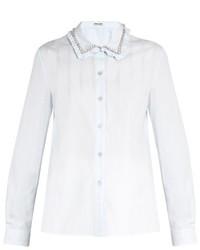 Miu Miu Embellished Collar Cotton Poplin Shirt