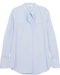 3.1 Phillip Lim Faux Pearl Embellished Cotton Poplin Shirt Blue