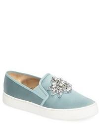 Badgley Mischka Barre Crystal Embellished Slip On Sneaker