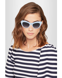 Dolce & Gabbana Cat Eye Embellished Acetate And Silver Tone Sunglasses Blue