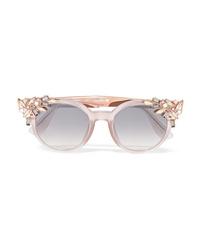Jimmy Choo Vivy Embellished Round Frame Acetate And Gold Tone Sunglasses
