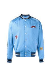 Light Blue Embroidered Bomber Jacket