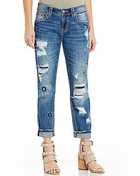 Miss Me Embroidered Distressed Cuffed Boyfriend Jeans