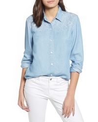 Tommy Bahama Hibiscus Chambray Embroidered Shirt