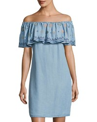 Embroidered ruffle off the shoulder dress blue medium 3756810