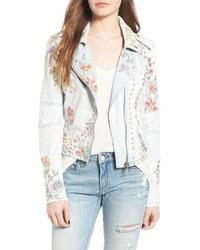 Blanknyc embroidered denim moto jacket medium 3684557