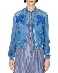 Stella McCartney Embroidered Denim Bomber Jacket Blue