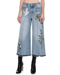 Alexander McQueen Embroidered Denim Culottes With Released Hem Blue