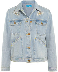 Light Blue Embroidered Denim Jacket