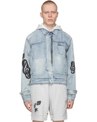 C2h4 Blue My Own Private Planet Denim Asymmetrical Layered Jacket