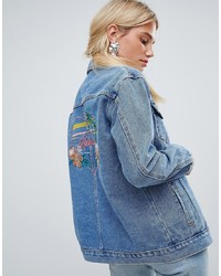 Oasis Havana Slogan Denim Jacket