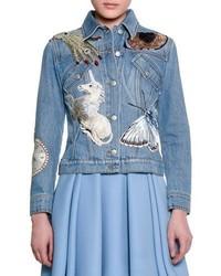 Icon embroidered jean jacket indigo medium 825446