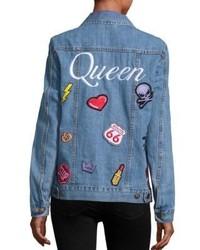 Logophile Queen Embroidered Appliqued Denim Jacket
