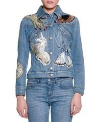Alexander McQueen Sequin Embroidered Denim Jacket
