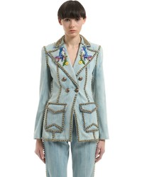 Gucci Studded Embroidered Denim Jacket