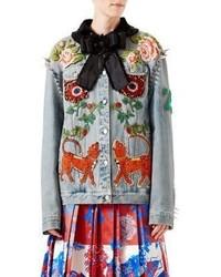 Gucci Studded Embroidered Denim Jacket