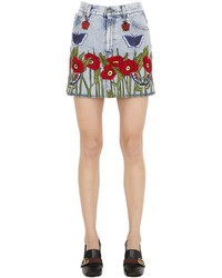Gucci High Waist Embroidered Denim Mini Skirt