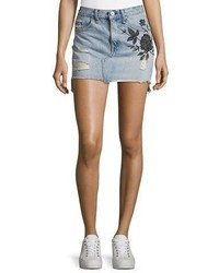 Rag & Bone Jean Dive Embroidered Denim Mini Skirt Indigo