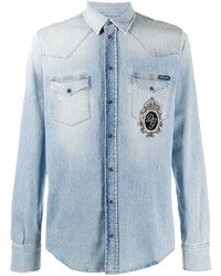 Dolce & Gabbana Dg Logo Patch Denim Shirt