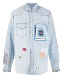 Amiri Embroidered Patchwork Denim Shirt