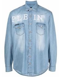 Philipp Plein Plein Embroidered Denim Shirt