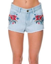 Light Blue Embroidered Denim Shorts