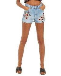 Blossom embroidered denim mom shorts medium 5034677