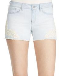 Jessica Simpson Cherish Embroidered Denim Shorts  Blue
