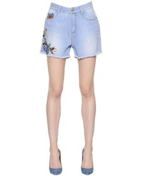 Ermanno scervino floral embroidered cotton denim shorts medium 1155498