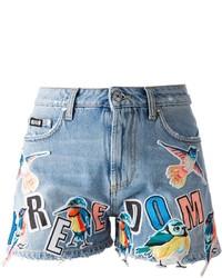 MSGM Bird Patch Denim Shorts