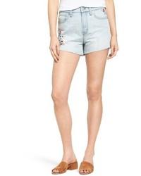 Perfect embroidered high waist denim shorts medium 4014997