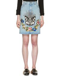 Gucci Blue Denim Cat Skirt