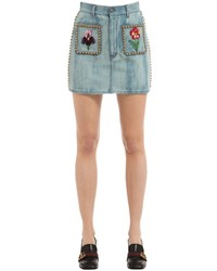 Gucci Studded Embroidered Cotton Denim Skirt