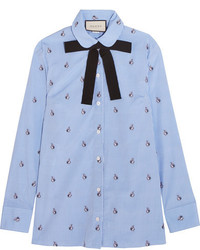 Gucci Bow Embellished Embroidered Striped Cotton Shirt Sky Blue