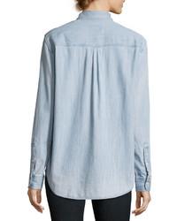 Rails Brett Embroidered Chambray Shirt Blue