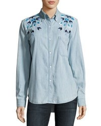 Rails Brett Embroidered Chambray Shirt Blue
