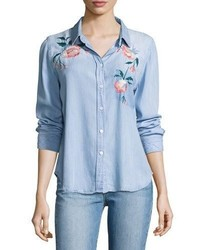 Rails Chandler Floral Embroidered Denim Shirt Blue