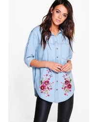 Boohoo Ellie Oversized Distressed Embroidered Denim Shirt