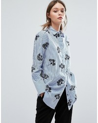 Warehouse Embroidered Stripe Shirt