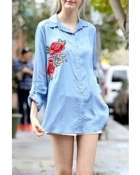My Story Embroidered Denim Shirt