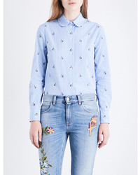Gucci Striped And Embroidered Rabbit Patterned Cotton Poplin Shirt