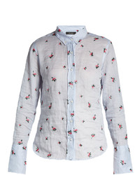 Isabel Marant Uliana Point Collar Floral Embroidered Shirt