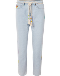 Mira Mikati Cropped Embroidered High Rise Straight Leg Jeans