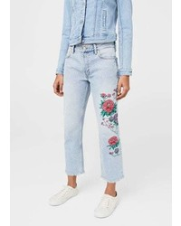 Mango Dalia Embroidered Straight Jeans