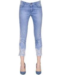 Ermanno Scervino Lace Embroidered Stretch Denim Jeans