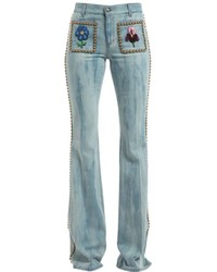 Gucci Studded Embroidered Flair Denim Jeans